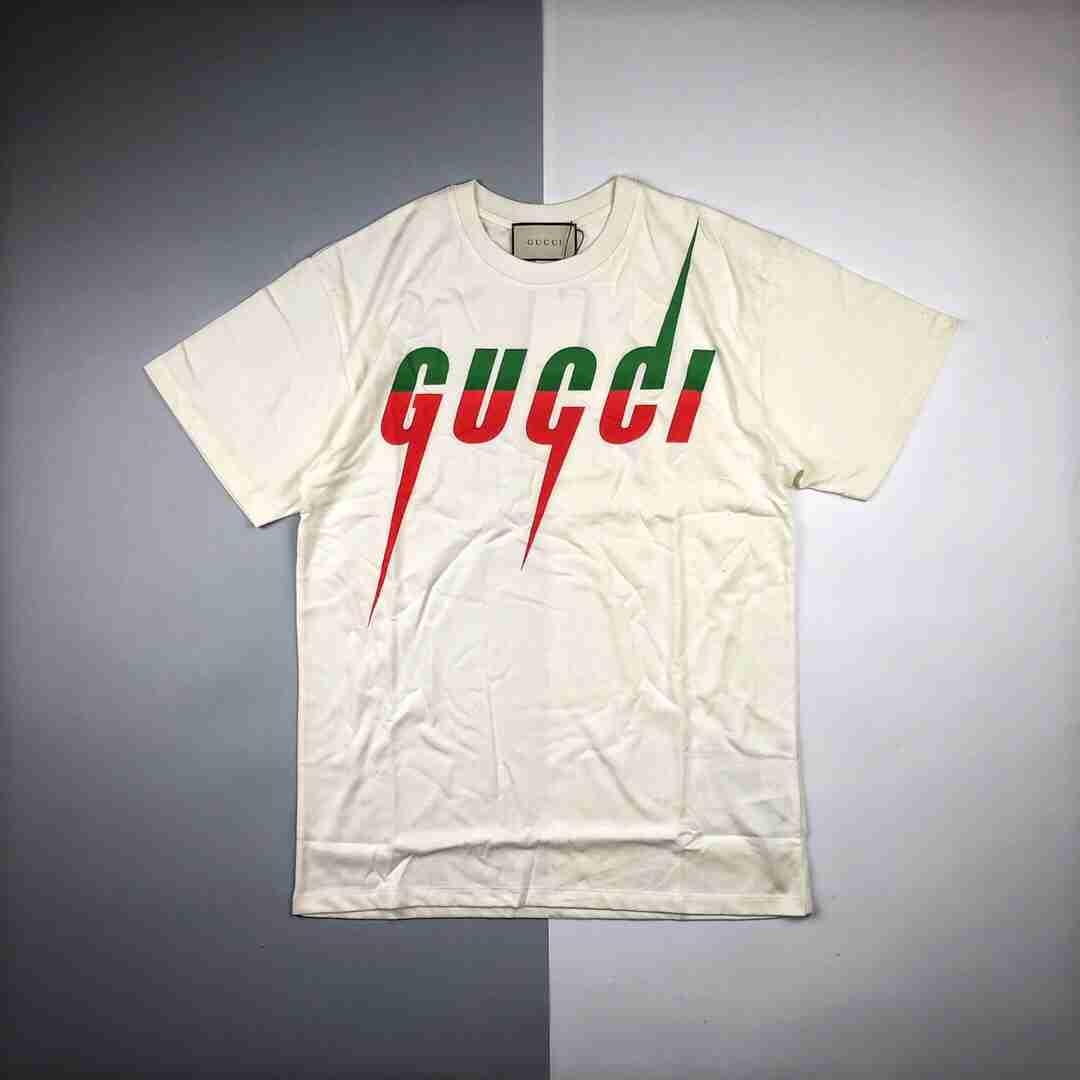 Gucci/古驰19ss闪电徽标印花短袖 100%长绒棉材质