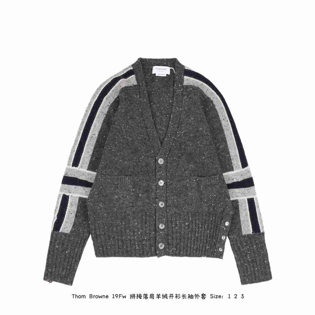 Thom Browne 19Fw 拼接落肩羊绒开衫长袖外套 100%纯羊毛