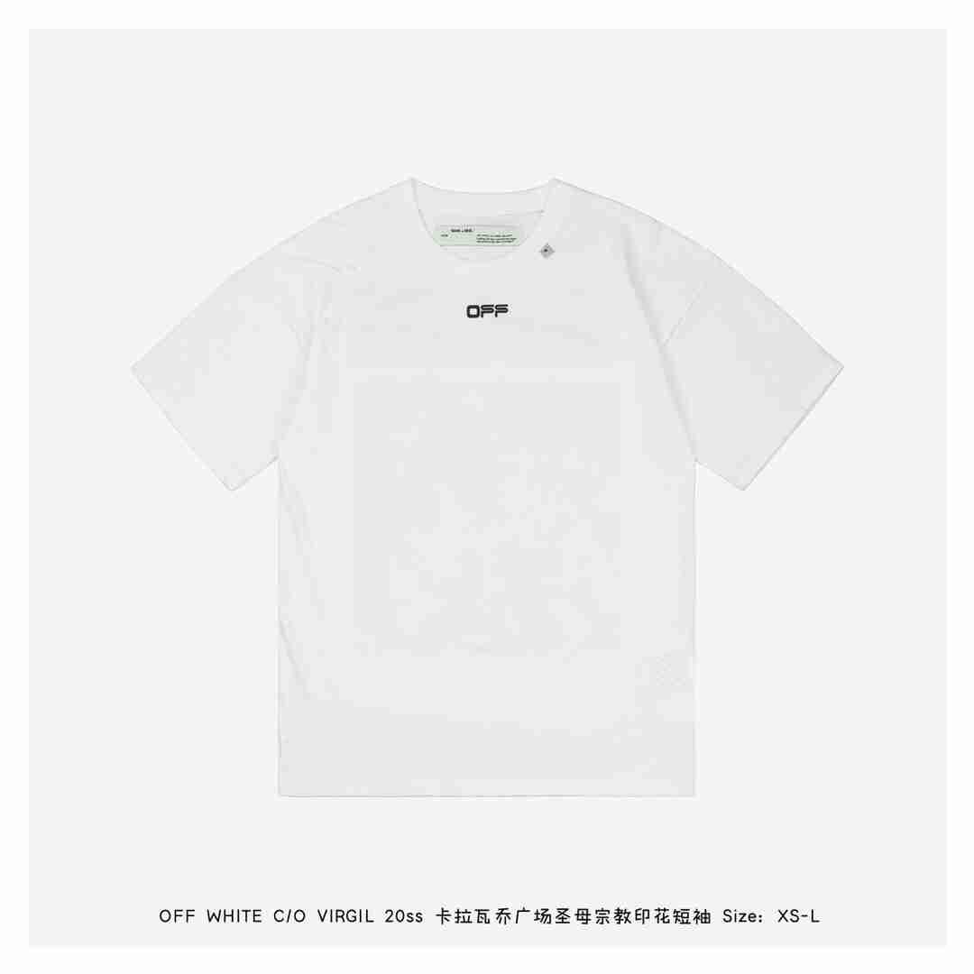 OFF WHITE C/O VIRGIL 20ss卡拉瓦乔广场圣母宗教印花短袖