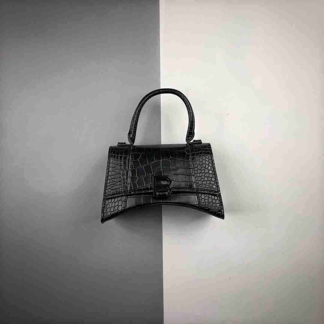 Balenciaga/巴黎世家 20ss 鳄鱼皮沙漏包单肩斜跨包