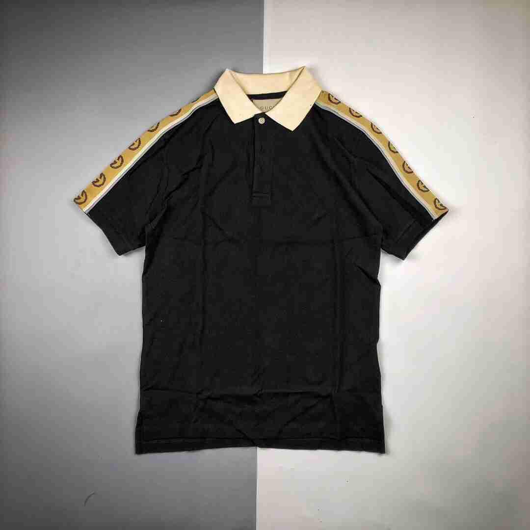 Gucci/古驰 20ss 饰互扣式反光G条纹Polo衫短袖