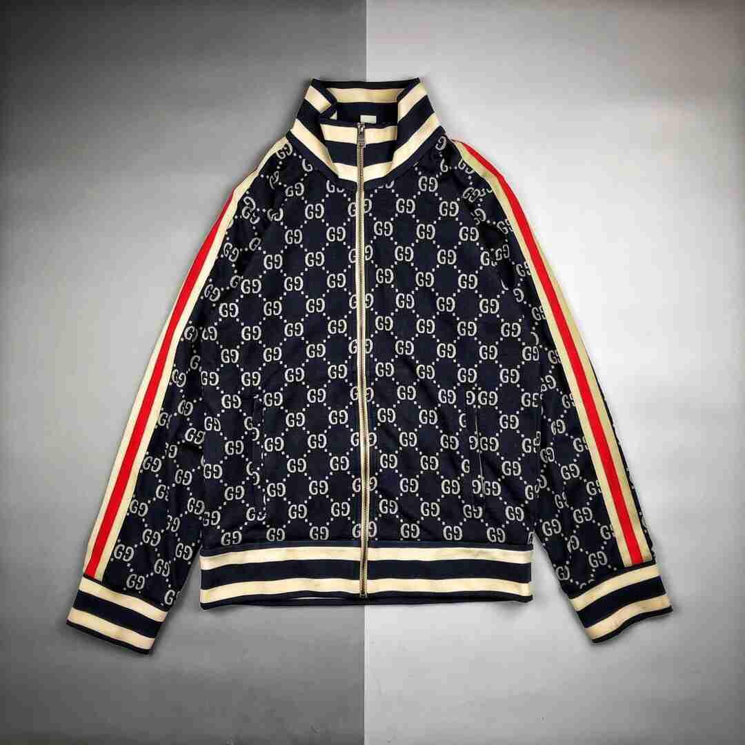 Gucci古驰 18ss双G蓝色针织提花满印Logo立领夹克外套